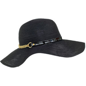 Eugenia Kim Black Woven Hat with Patent Belt and Gold Chain Detail